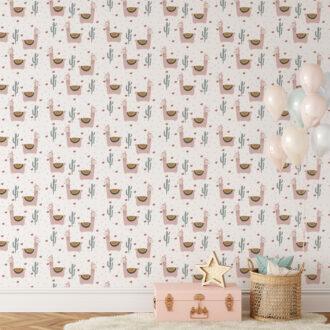 behang lama roze kinderbehang vliesbehang hip huisje