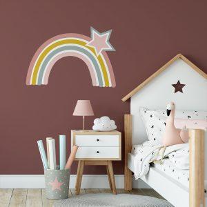 muursticker regenboog terracotta kinderkamer hiphuisje