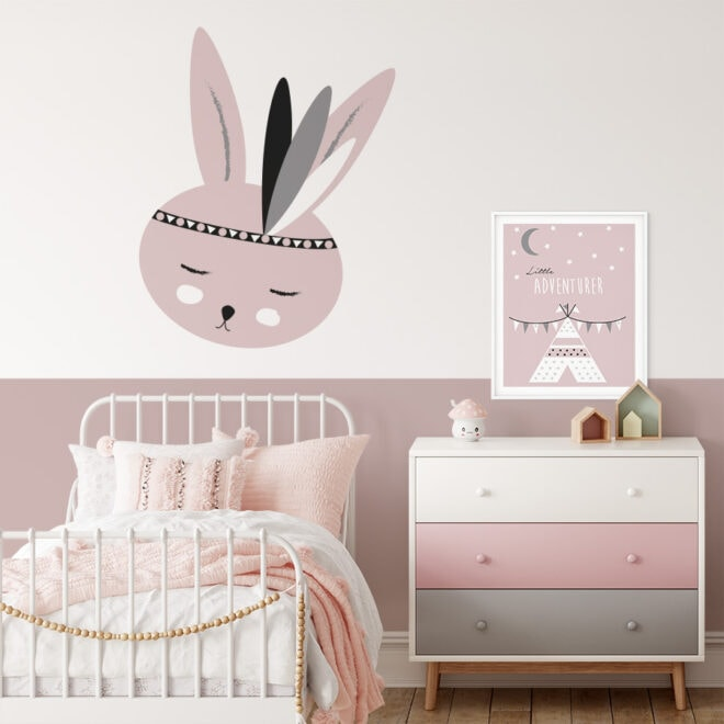 muursticker konijntje roze meisjeskamer decoratie hiphuisje