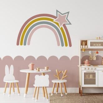 regenboog muursticker roze meisjeskamer sticker hiphuisje