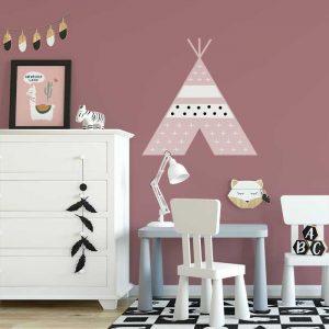 muursticker tipi roze meisjeskamer xl muurstickers kinderkamer hiphuisje