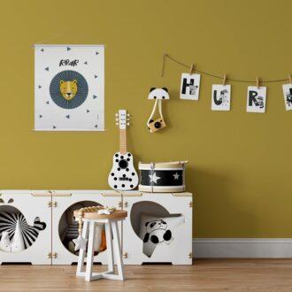 sfeer kinderkamer poster leeuw oker hiphuisje