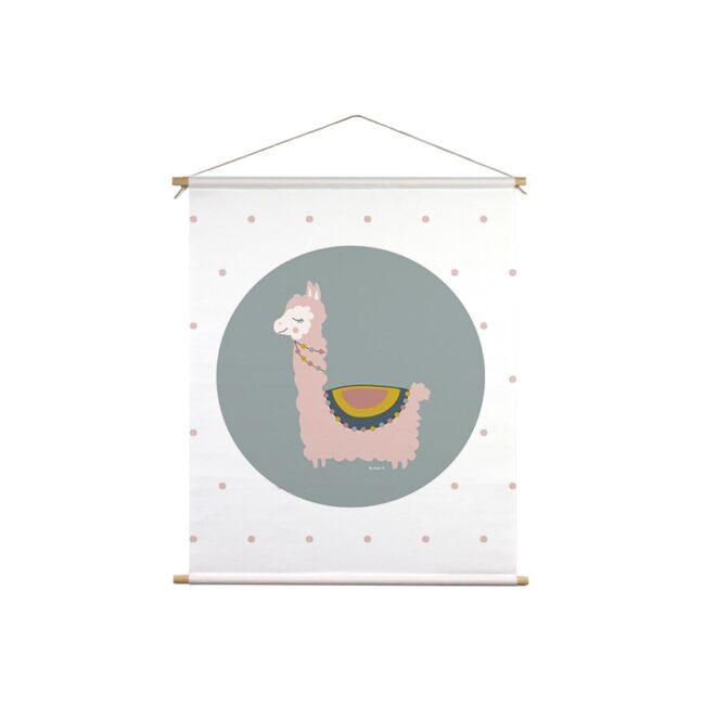 textielposter lama groen roze hiphuisjekopie