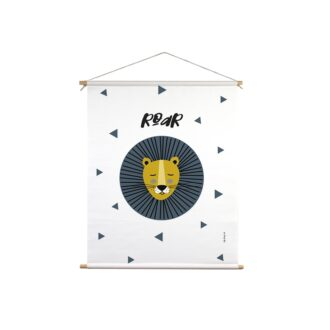 textielposter leeuw oker blauw hiphuisje
