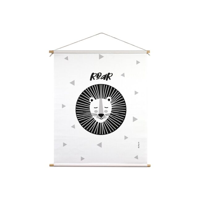 textielposter leeuw zwart wit hiphuisje