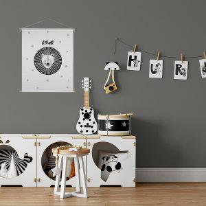 textielposter leeuw zwart wit sfeer kinderkamer hiphuisje