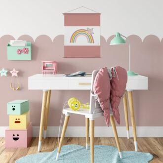 textielposter regenboog oudroze hiphuisje