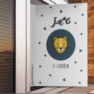 geboortebord raam sfeer leeuw hiphuisje