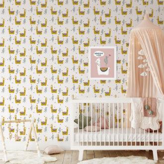 lama behang okergeel meisjeskamer babykamer oker hiphuisje