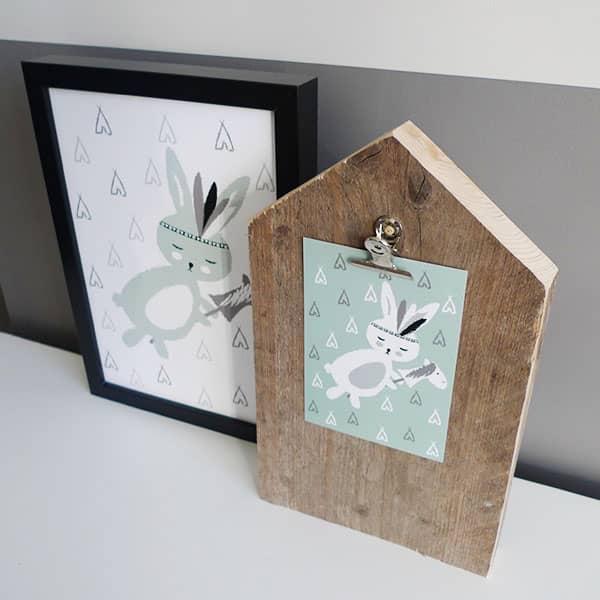 POster konijntje plus kaart zachtgroen Hip Huisje