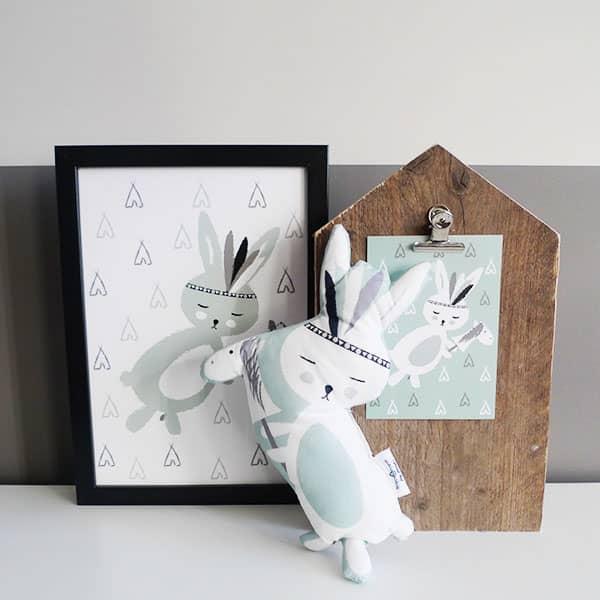 Poster kaart konijntje zachtgroen Hip Huisje