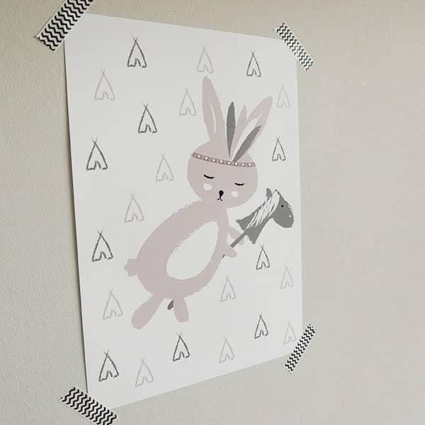 Poster kinderkamer meisje konijntje roze Hip Huisje