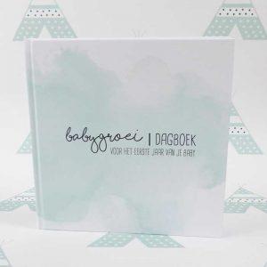 babgroeidagboek dagboek eerstejaar baby geboren kraamkado groen mint hiphuisje