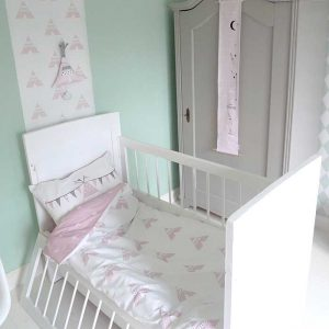 behang babykamer roze tipi dekbedovertrek peuterkamer meisje hiphuisje
