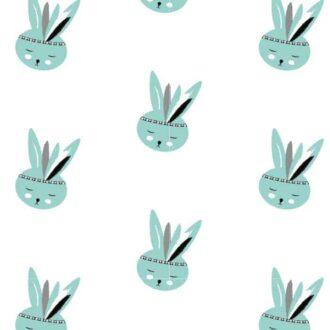 behang konijntje groen kinderbehang dierenkamer kinderkamer hiphuisje 4