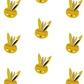 behang konijntje okergeel kinderbehang kinderkamer dierenkamer hiphuisje 4
