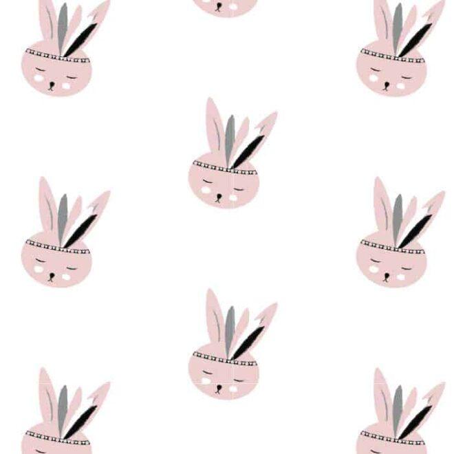 behang konijntje roze meisjeskamer kinderbehang hiphuisje 4
