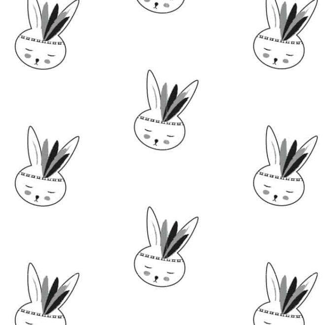behang konijntje zwart wit kinderbehang babykamer kinderkamer hiphuisje 4
