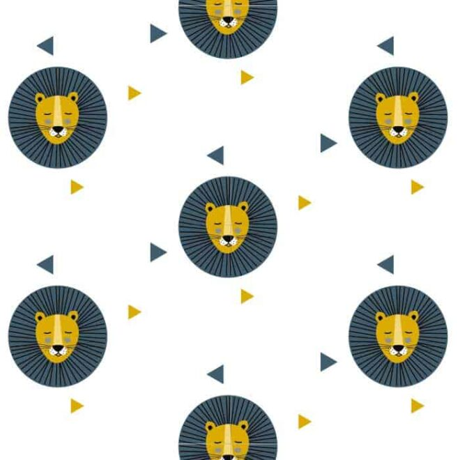 behang leeuw blauw oker kinderbehang dierenkamer kinderkamer hiphuisje 3