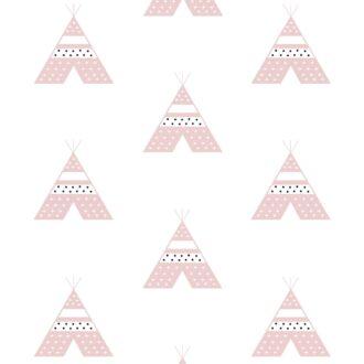 behang roze tipi meisjeskamer babykamer hip huisje