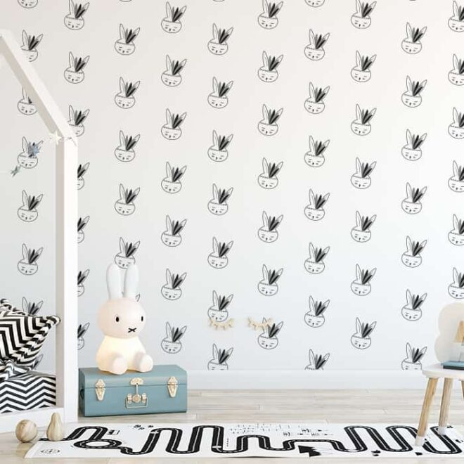 behang zwart wit konijntjes 3