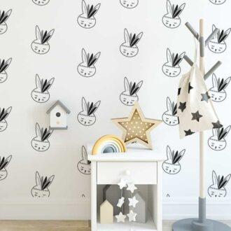 close up behang konijntjes zwartwit kinderbehang babykamer kinderkamer hiphuisje 3