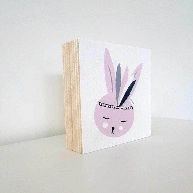 decoblok konijntje roze decoratie kinderkamer roze hiphuisje 2