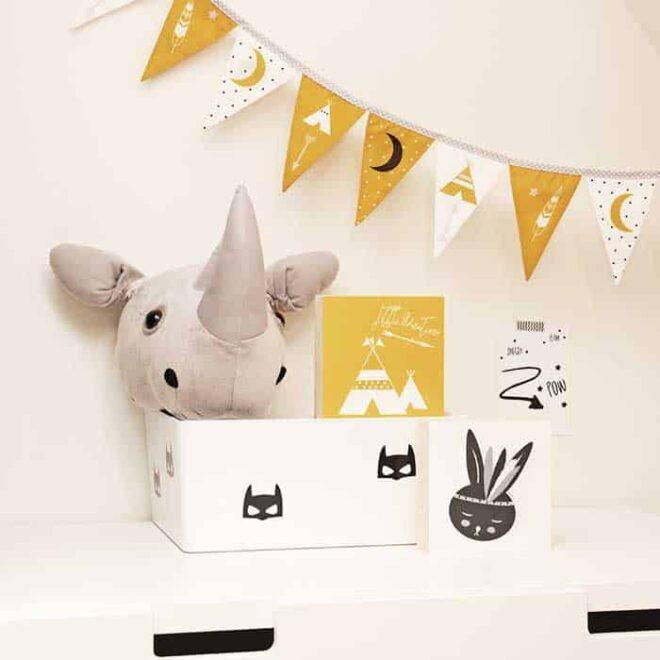 decoblokken okergeel zwartwit konijntjes kinderkamer decoratie hiphuisje 2