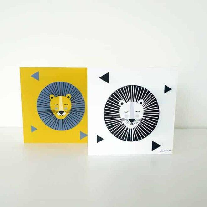 decoblokken okergeel zwartwit leeuw hiphuisje