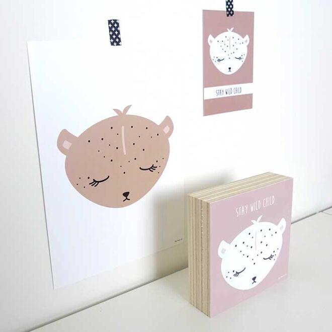 decoratie poster kaart houten blok luipaard hiphuisje 4