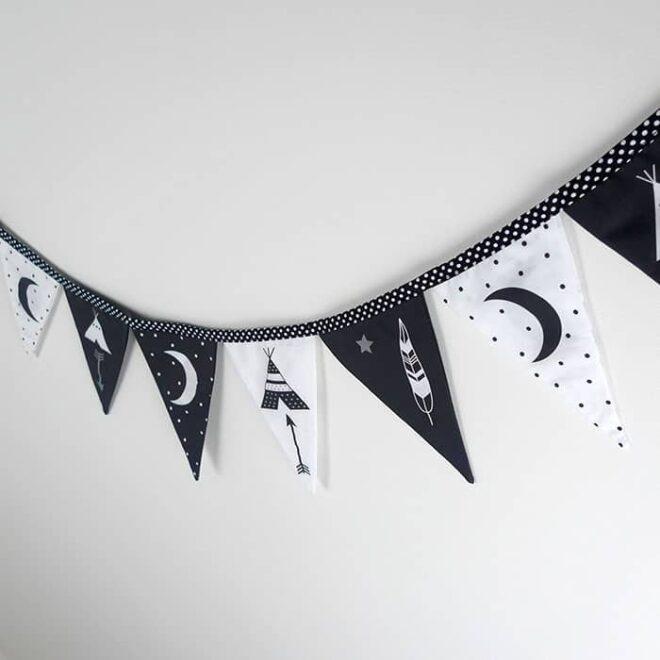 detail vlaggenlijn tipi print inrichten babykamer hiphuisje 3