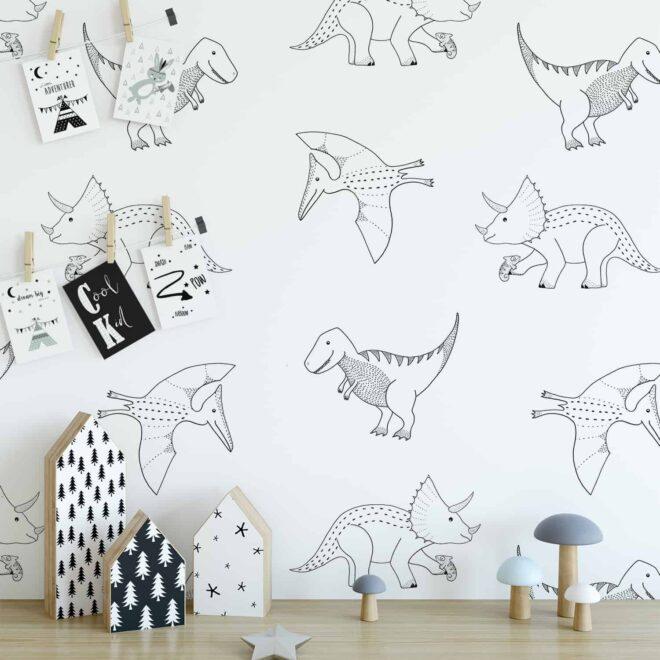 dino behang jongenskamer lijntekening dinosaurus monochrome kinderkamerstyling jongens hipuisje 3