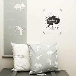 dino kussens groeimeter poster kinderkameraccessoires jongenskamer hiphuisje
