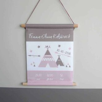 geboorteposter meisje textielposter roze meisjeskamer hiphuisje 1