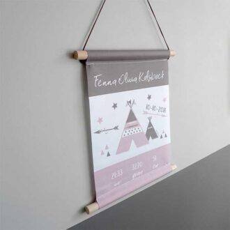 geboorteposter naamposter kraamcadeau roze tipi HipHuisje