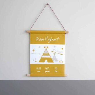 geboorteposter okergeel tipi naamposter kraamcadeau babykamer HipHuisje