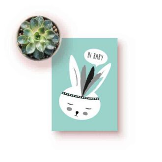 kaart konijntje groen jongetje kinderkamer hiphuisje 2