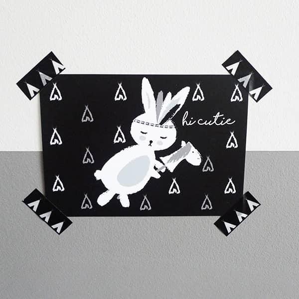 kaart konijntje hi cutie hip huisje