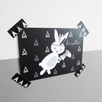 kaart konijntje hi zwart wit hip huisje