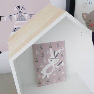 kaart konijntje kinderkameraccessoires roze hip huisje
