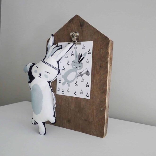 kaart konijntje knuffel hip huisje