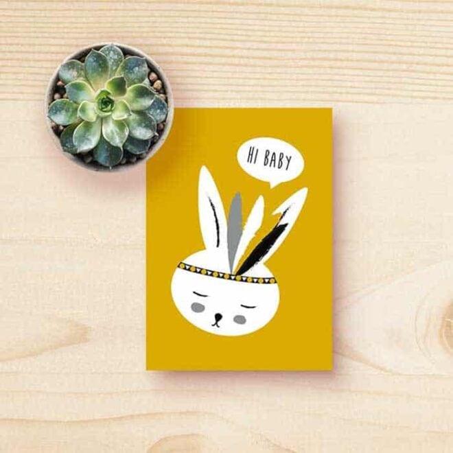 kaart konijntje okergeel jongetje kinderkamer hiphuisje 2