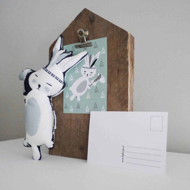 kaart konijntje sfeer grijs hip huisje