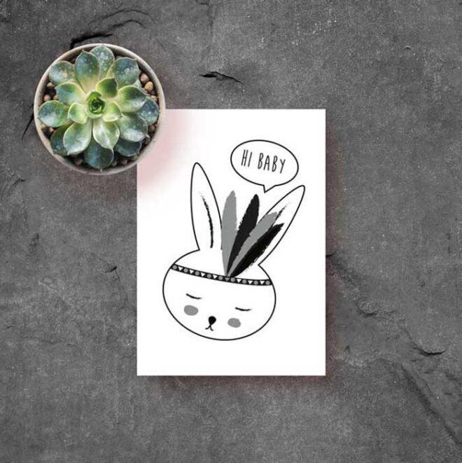 kaart konijntje wit zwart jongetje kinderkamer hiphuisje 2