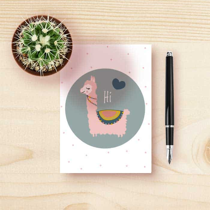 kaart lama groen roze meisje kinderkamer hiphuisje 1