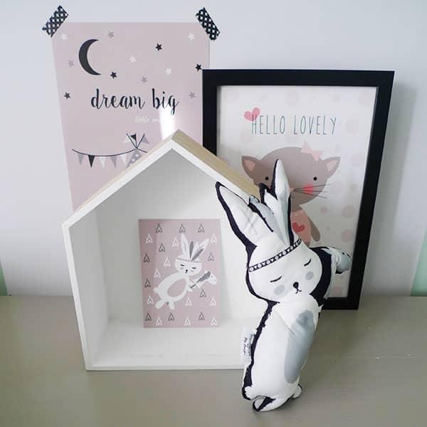 kaart roze konijntje babykamer kinderkamer deco hip huisje