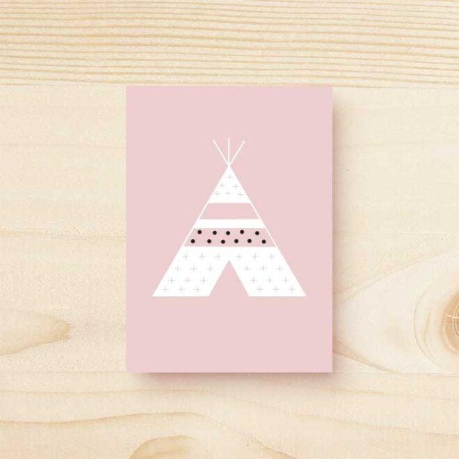 kaart tipi roze hiphuisje kopie 2