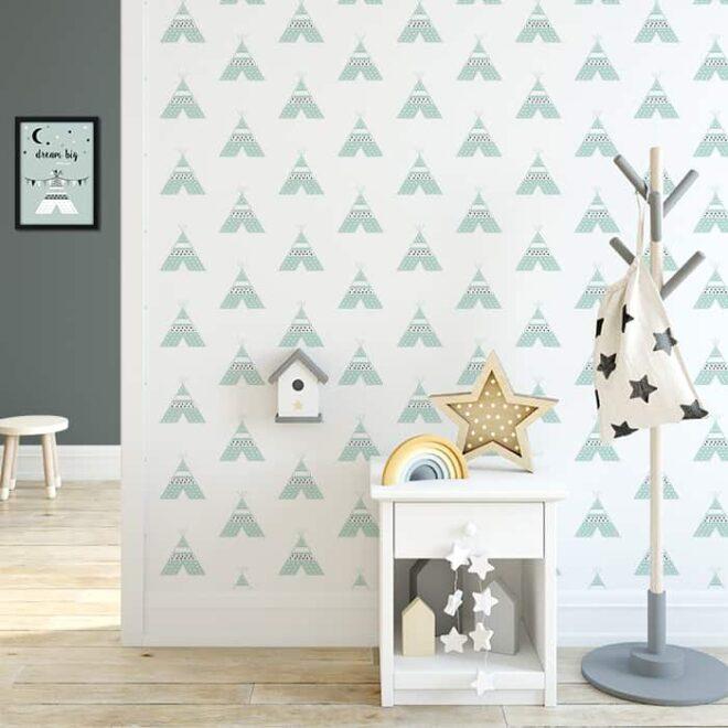 kinderkamer behang tipi groen babykamer hip huisje 3