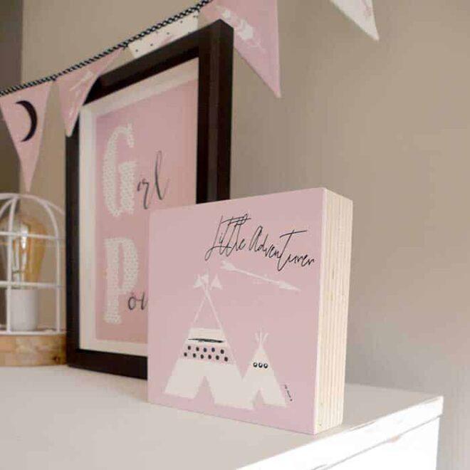 kinderkamer roze tipi accessoires babykamer vlaggenlijn hiphuisje