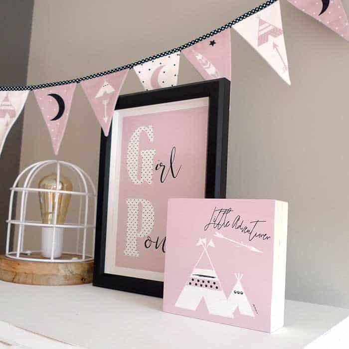 Tipi Print Roze Houten Blok Decoratie Meisjeskamer Hiphuisje Nl